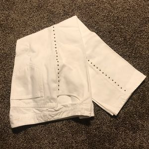 Studded white Capri jeans by CHARTER CLUB.